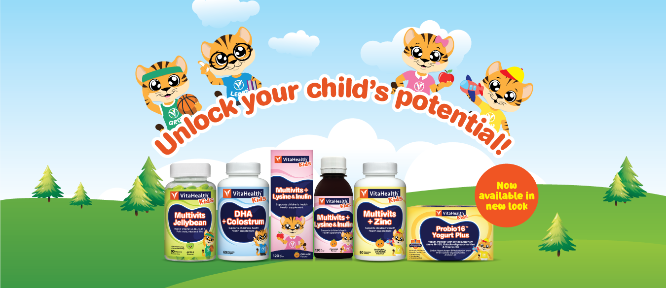 VitaHealth Malaysia Supplement: Unlock your child's potential with our Kids Supplements, Featuring New Products and A New Look