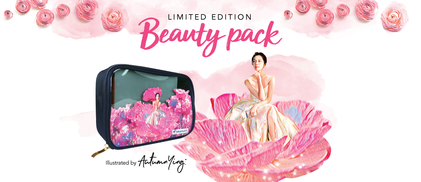 VitaHealth Malaysia Supplement: Limited Edition Beauty Pack - With Our Skin Whitening Supplements Asta-Glutathione+, Cosmetic Pouch and Vitamin C with Zinc+